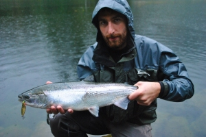 Glowing coho that fell for a 2/3 copper/orange R&B spoon slow retrieved through a tail out