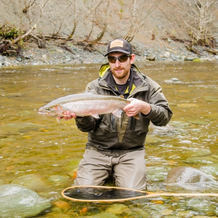 As seen in this photo, this particular run was fairly small and shallow and didn't appear to be holding water. It pays off at times to do a cast and walk method. This marked off my 18th river of the year where I've been able to tail a winter run steelhead.